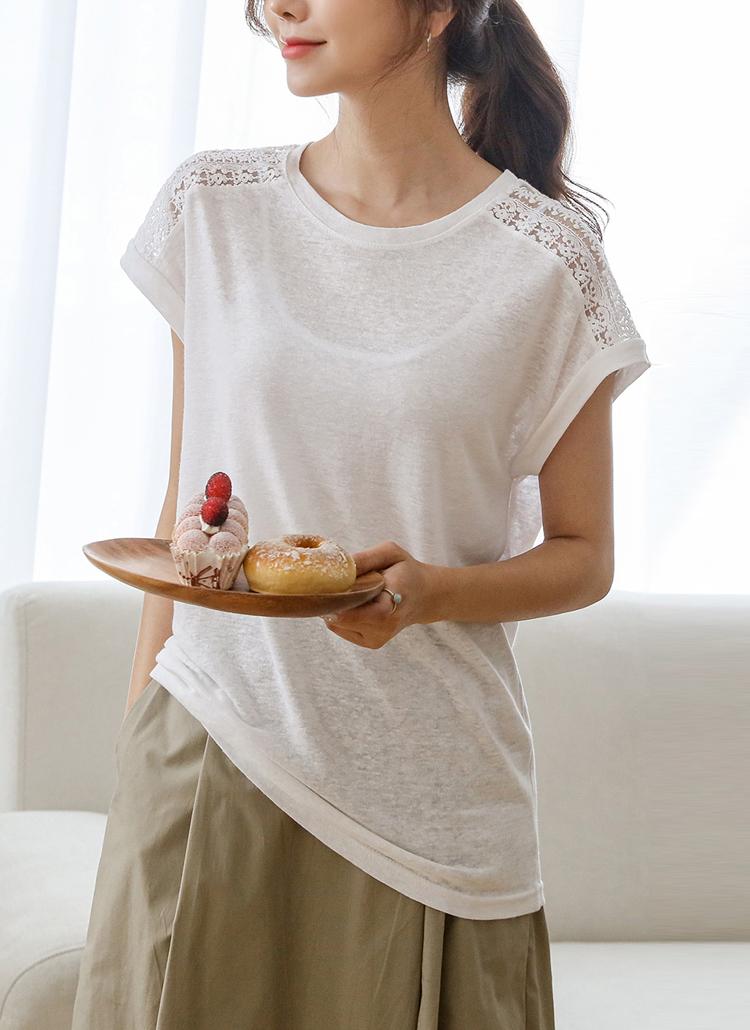 ショルダーレースTシャツ