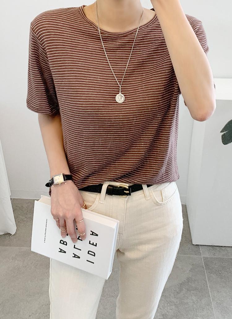 リネン混ボーダーTシャツ