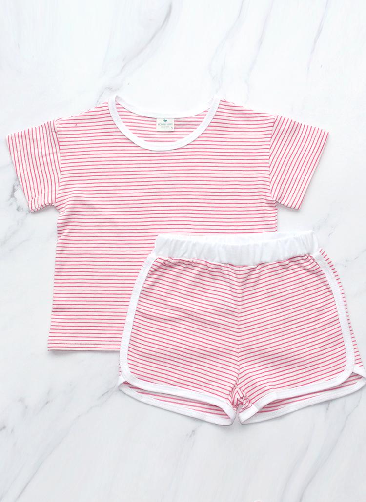 ボーダーTシャツ&パンツSET(ピンク)
