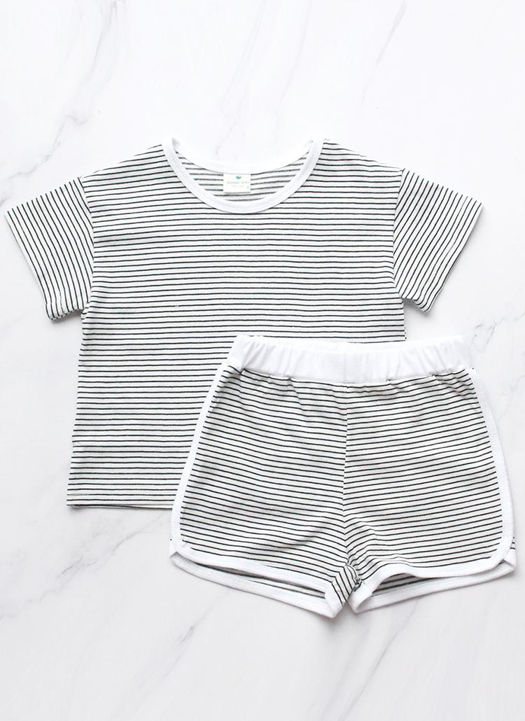 ボーダーTシャツ&パンツSET(ブラック)