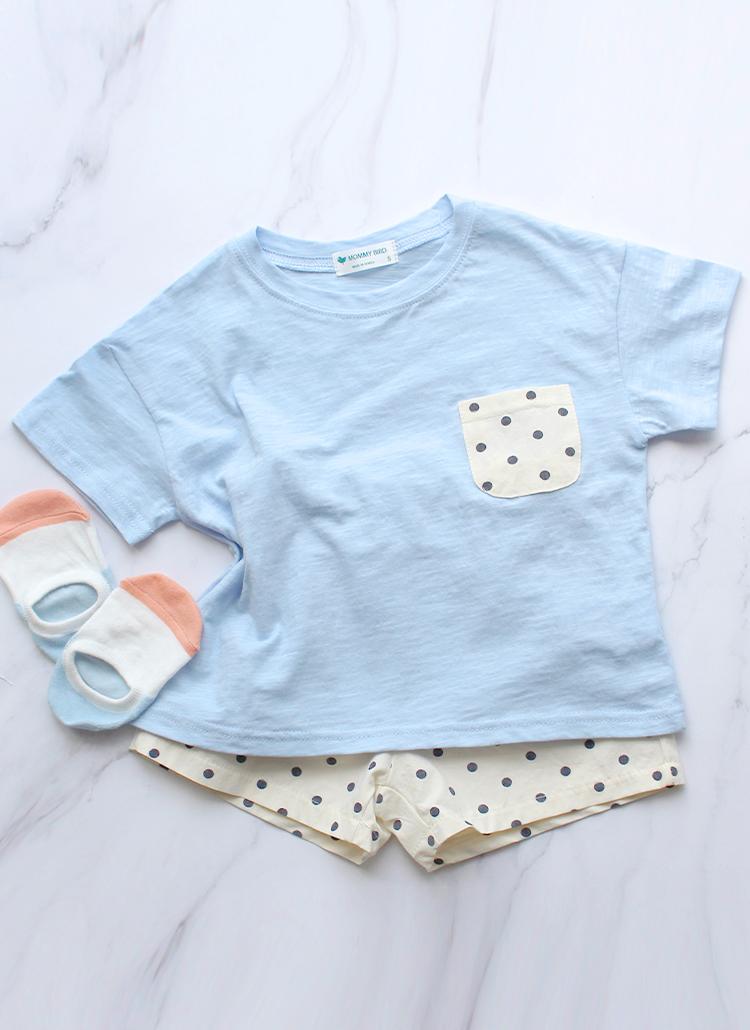 ドット柄ポケットTシャツ&パンツSET(ブルー)