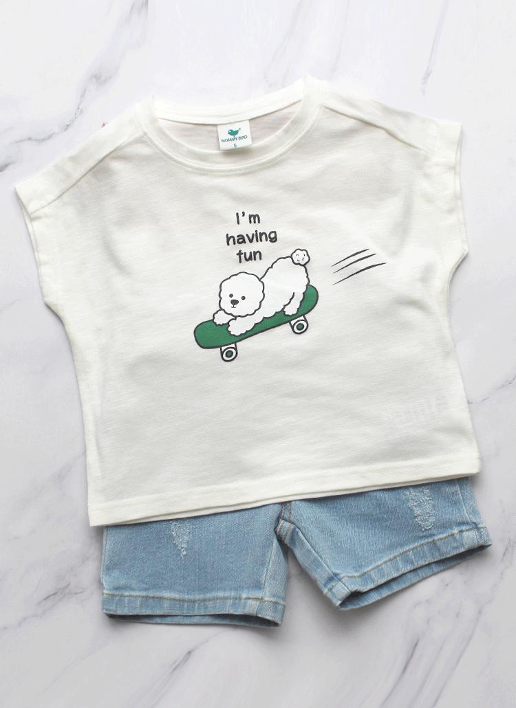 DOGプリントTシャツ(ホワイト)