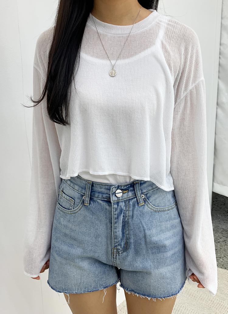 クロップドシアーTシャツ