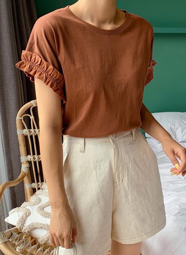 シャーリングスリーブTシャツ