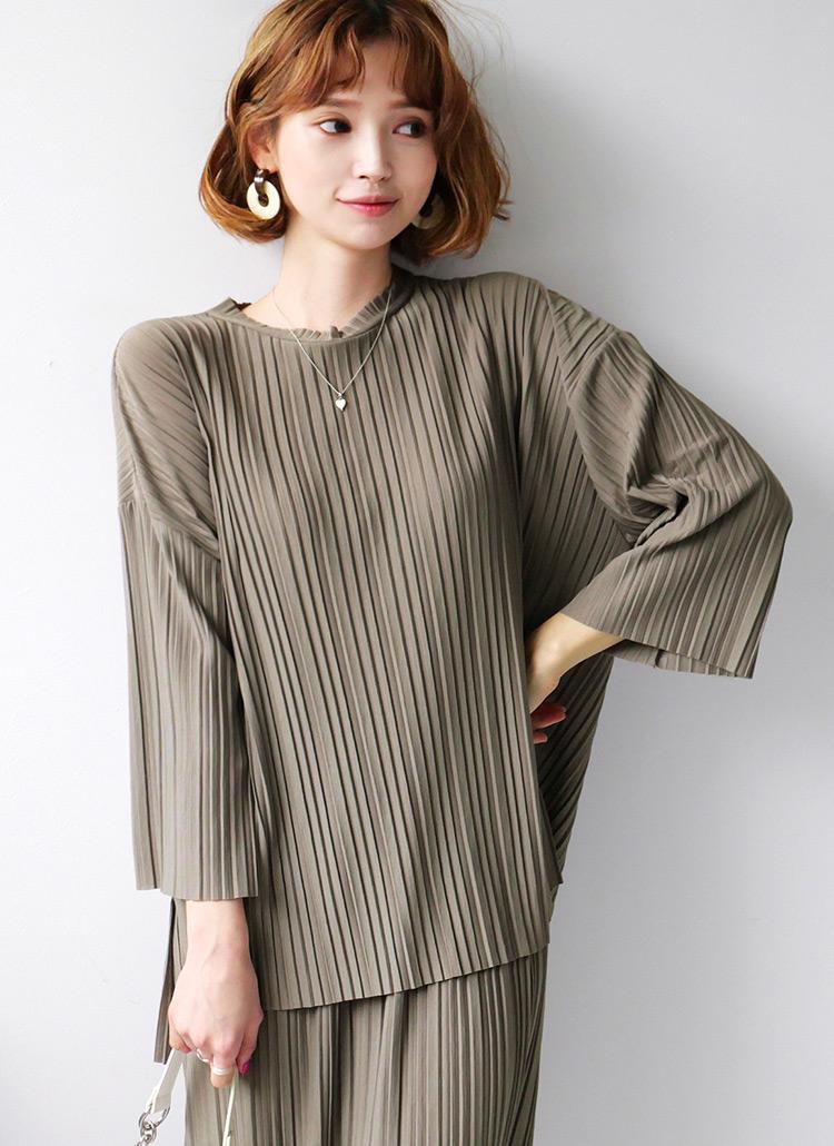 プリーツTシャツ&スカートSET・全2色