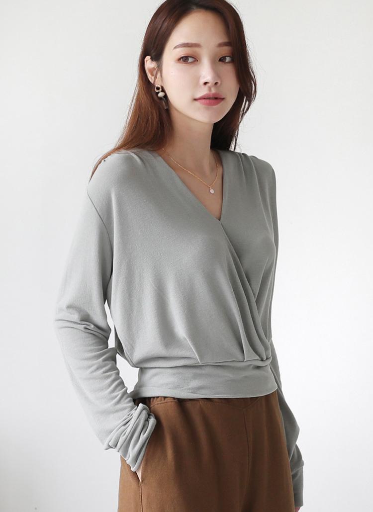 カシュクールクロップドTシャツ・全3色