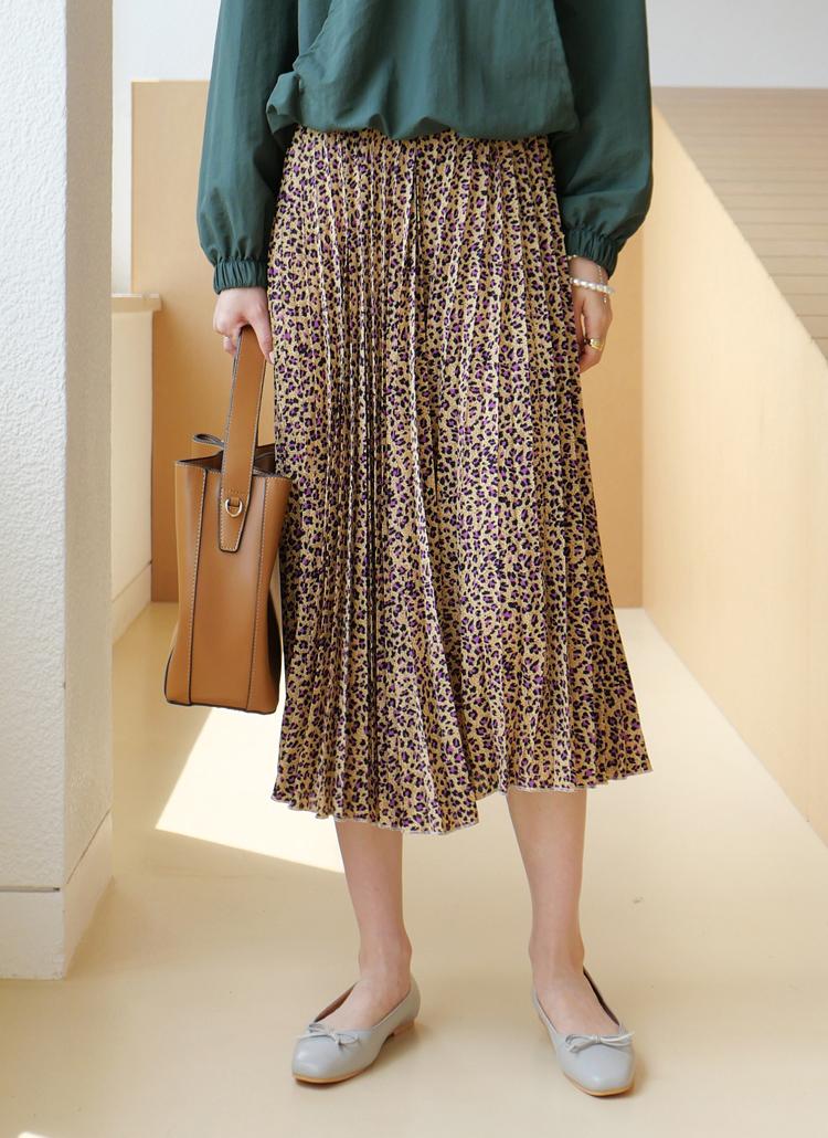 プリーツレオパードスカート・全3色
