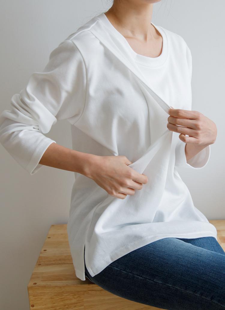 授乳口デイリー長袖Tシャツ