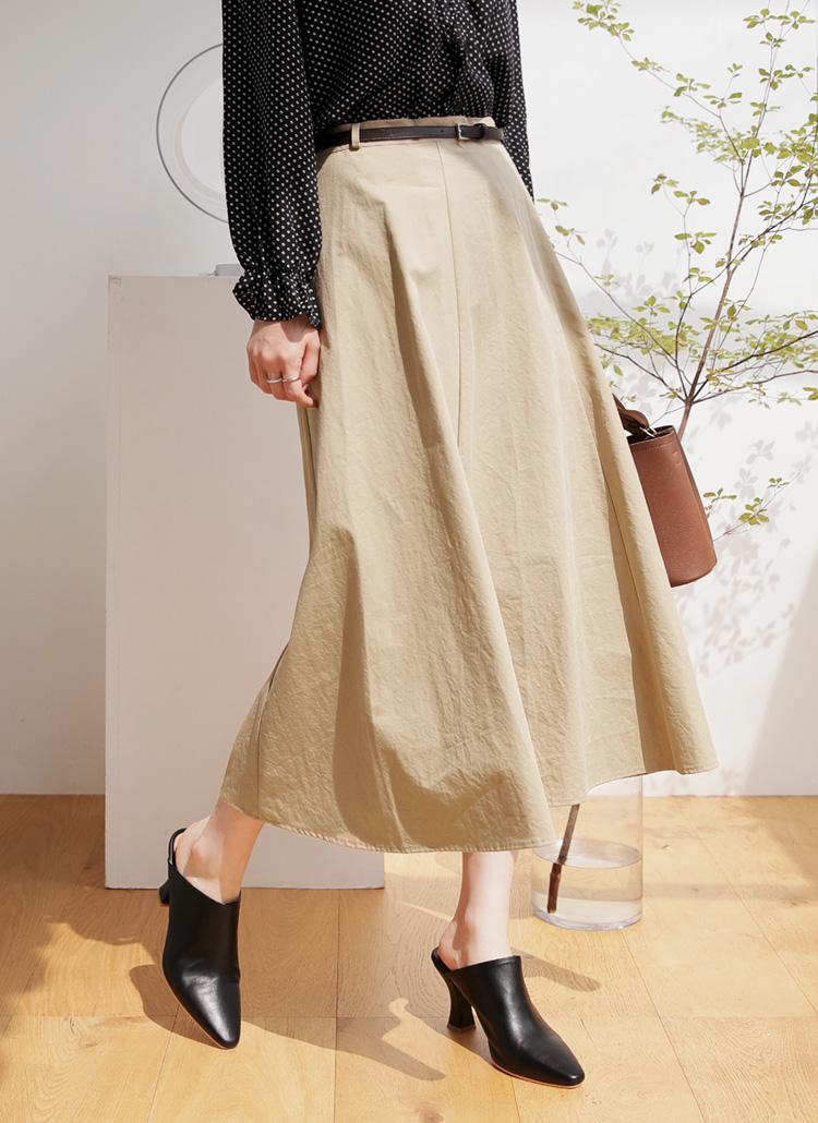 ベルト付フレアスカート・全2色