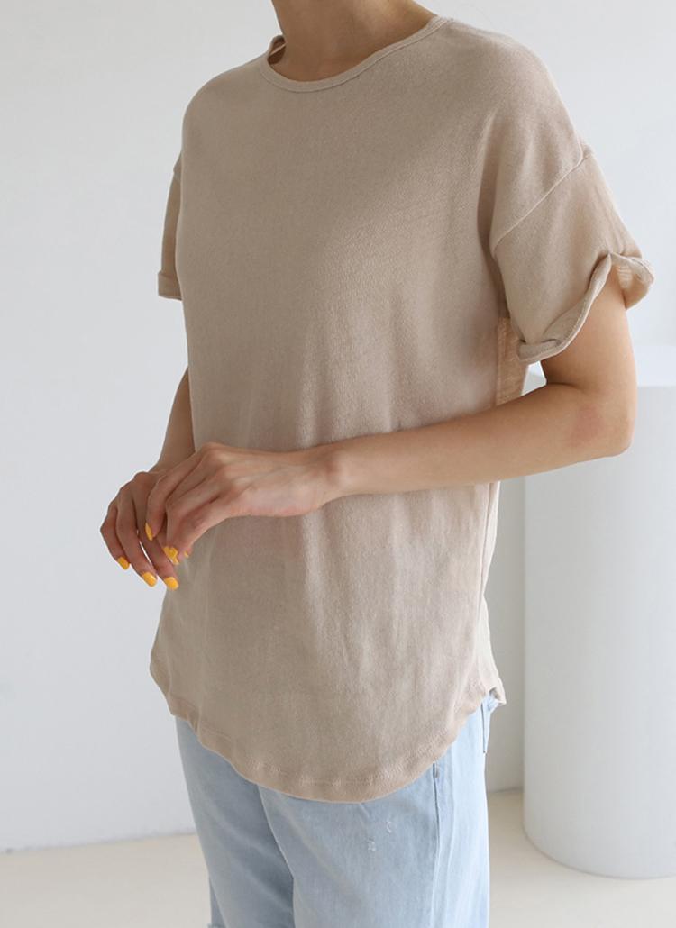 リネン混ロールアップTシャツ