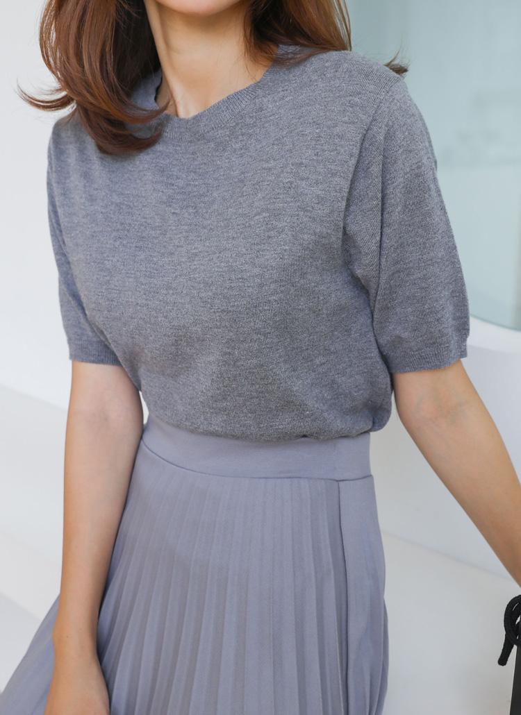 カシミヤ混半袖ニット