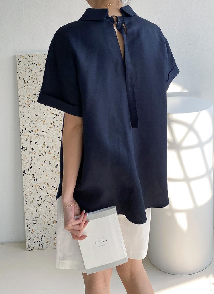 リネン混バックベルトシャツ