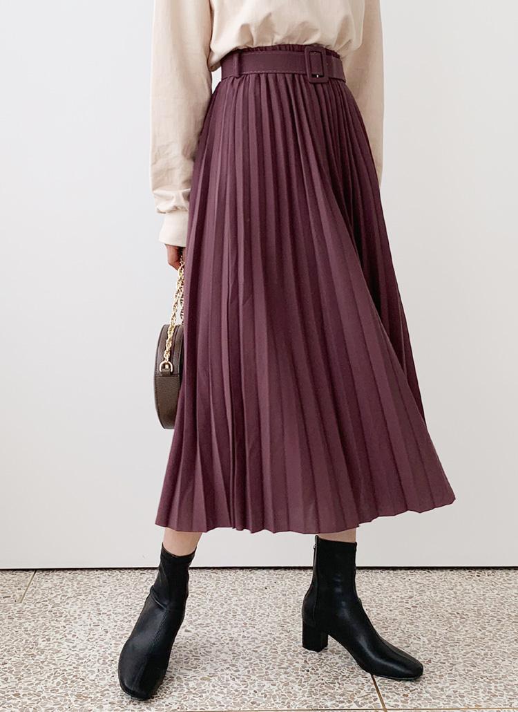 ベルト付プリーツスカート・全5色