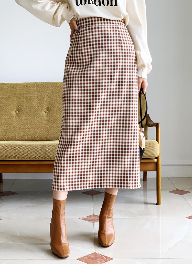 チェックロングスカート・全2色