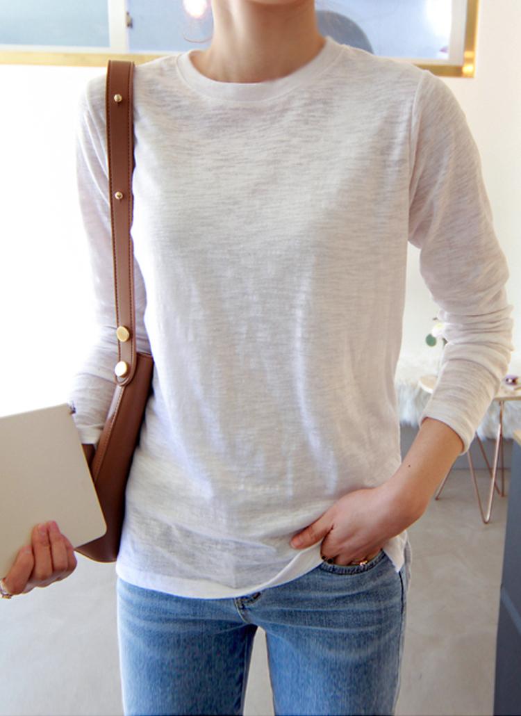 コットンメランジ長袖Tシャツ