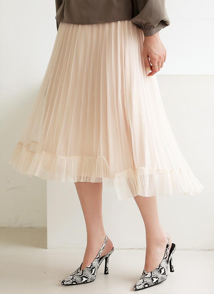 メッシュプリーツスカート・全2色