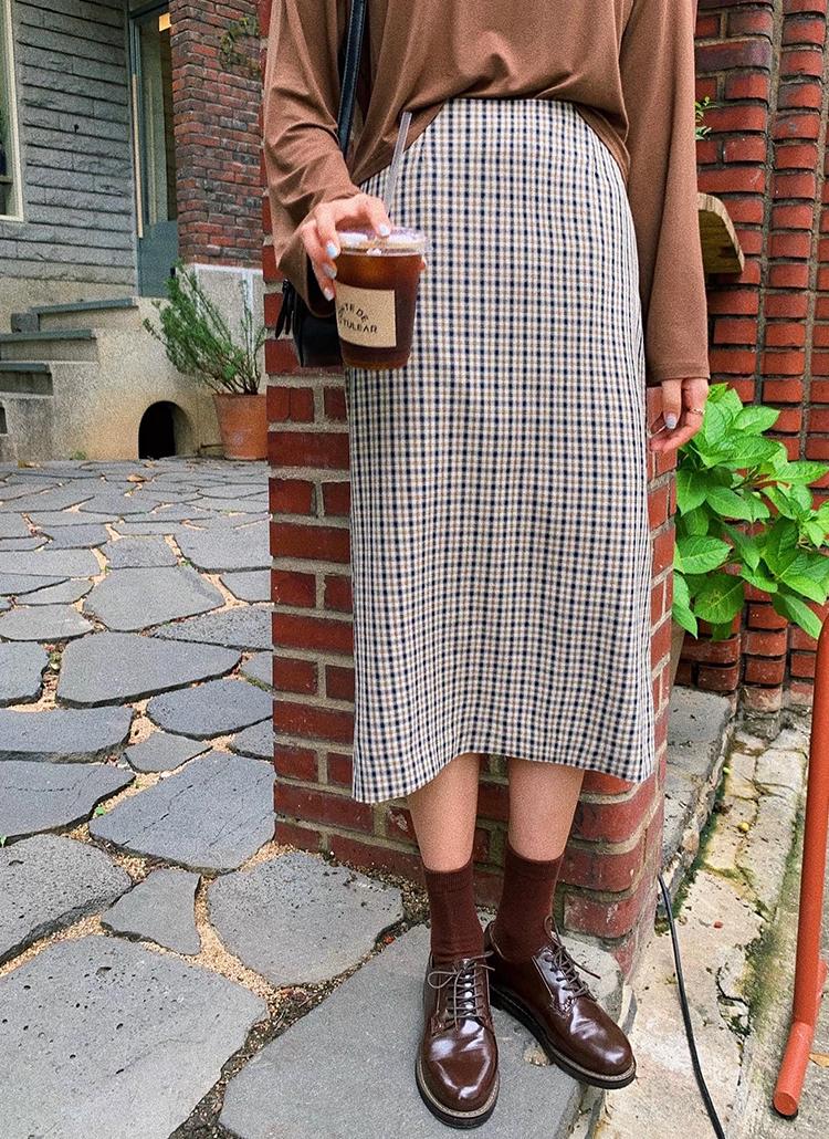 チェックストレートスカート