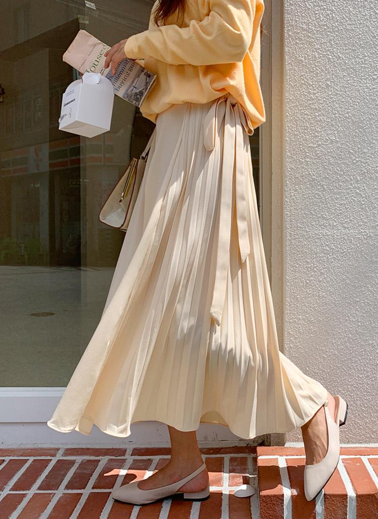 サイドプリーツリボンロングスカート