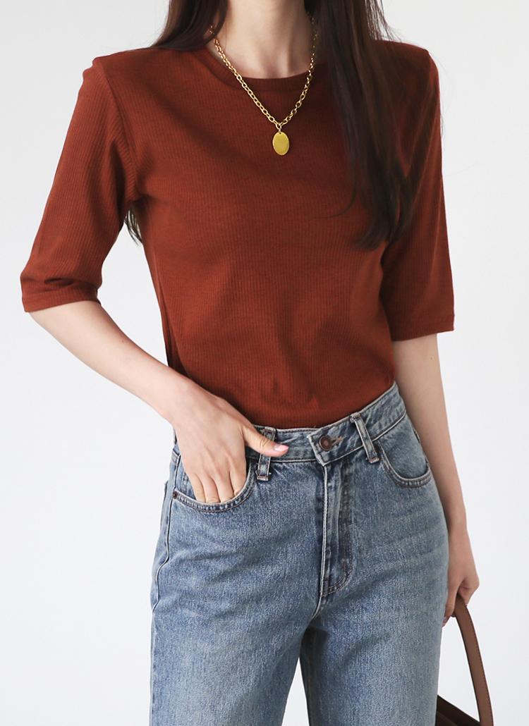 ラウンドリブTシャツ・全3色