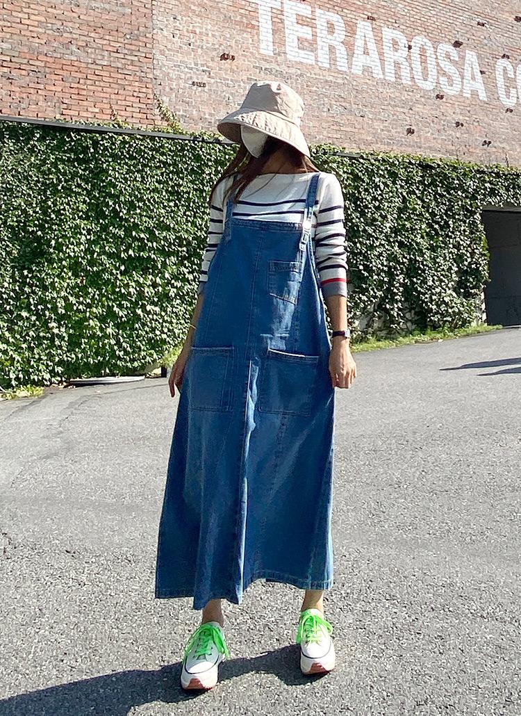 ポケットロングデニムサロペットスカート