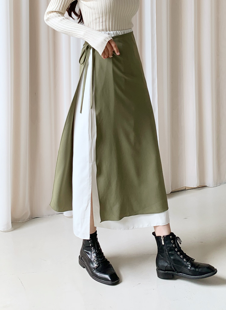 バイカラーラップスカート・全3色