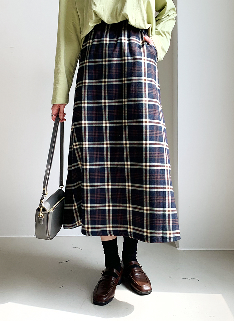 チェックAラインスカート・全2色
