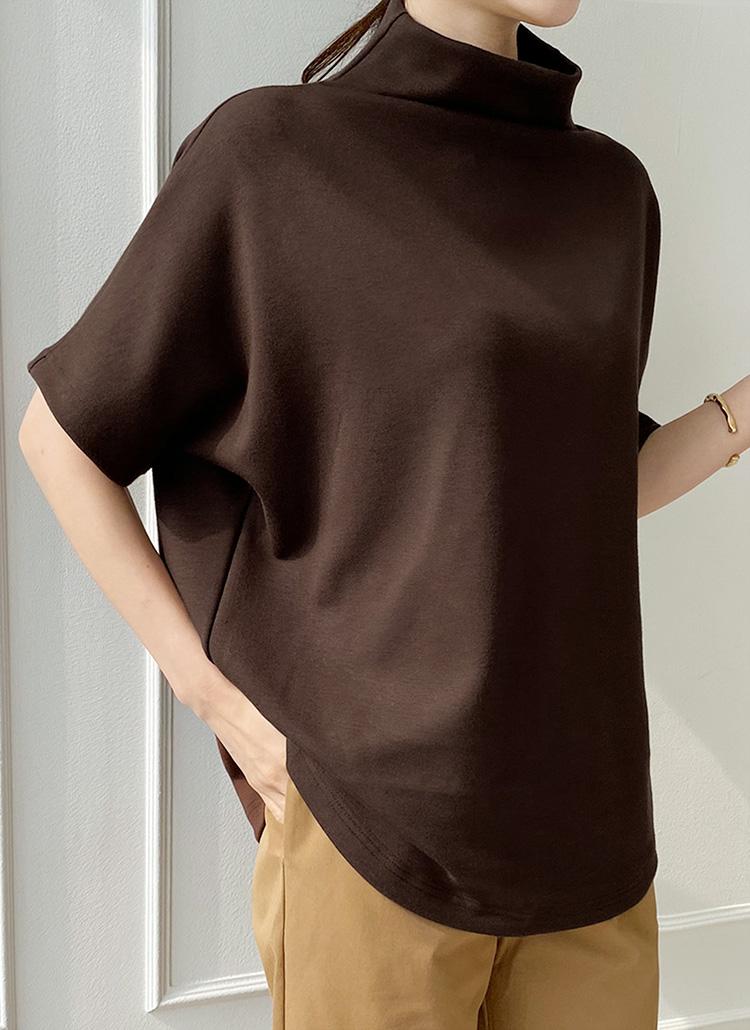 半袖ボトルネックTシャツ・全5色