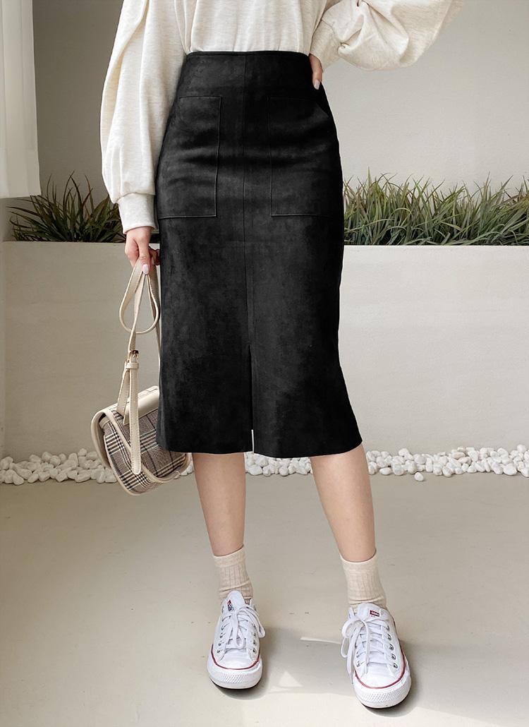 スエード調ポケットスカート・全3色