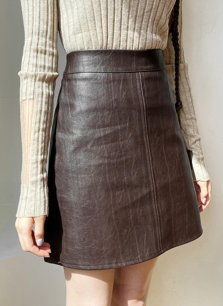 レザー調ミニスカート・全4色