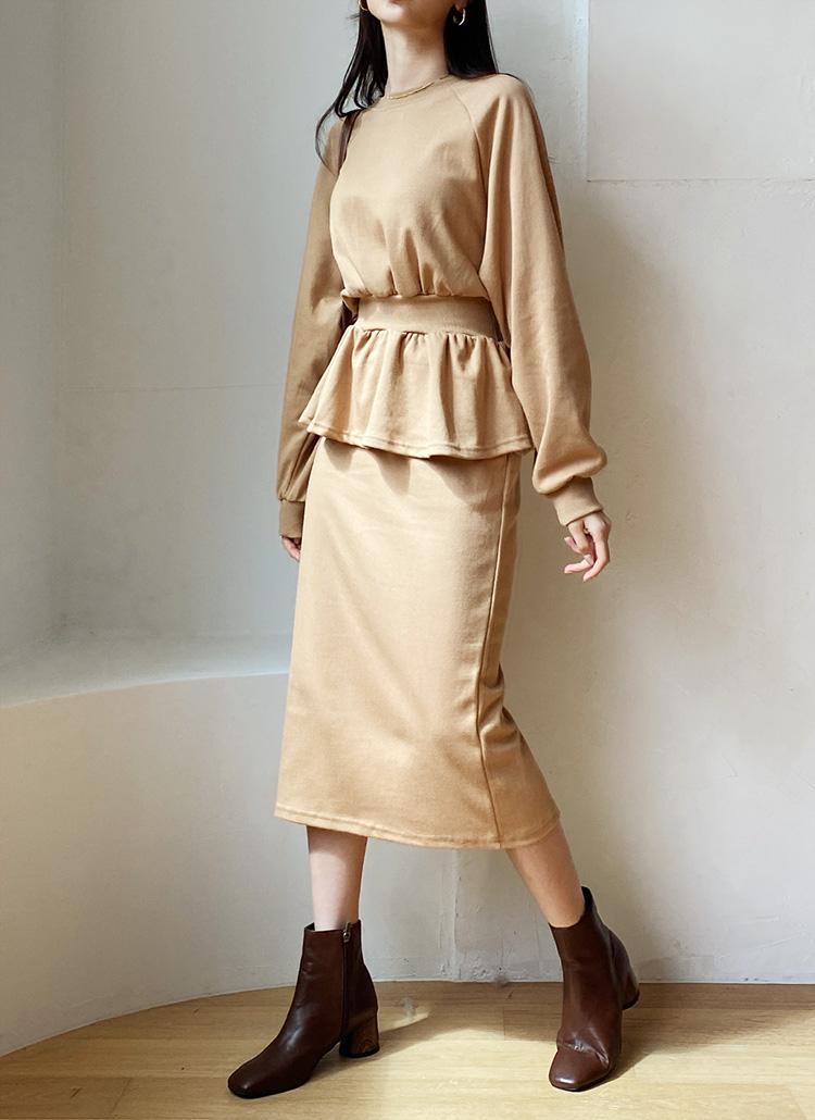 ペプラムスウェット&スカートSET・全3色