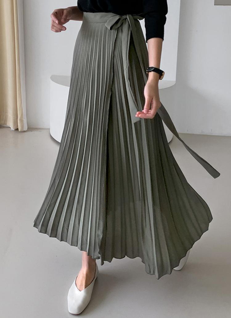 サイドリボンプリーツロングスカート