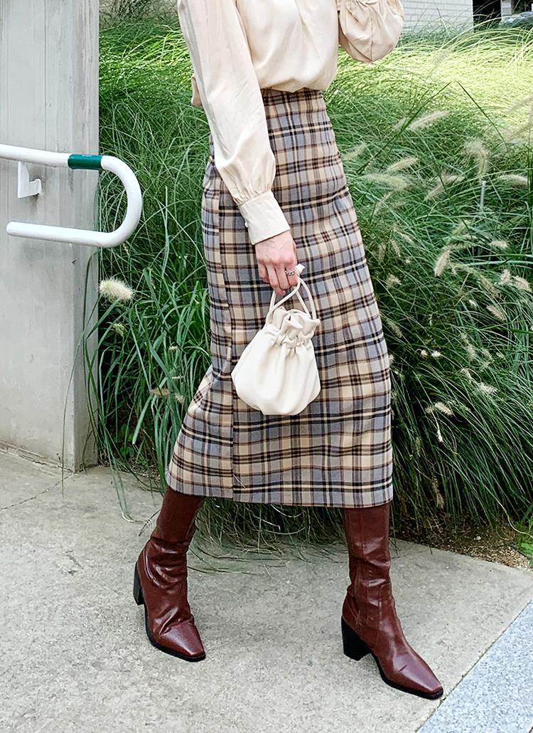 Hラインチェックロングスカート・全2色
