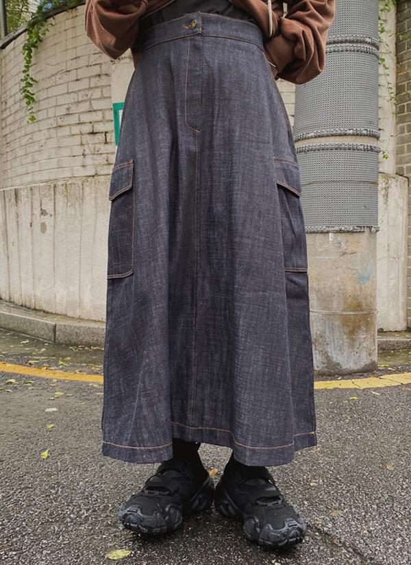フラップポケットロングデニムスカート