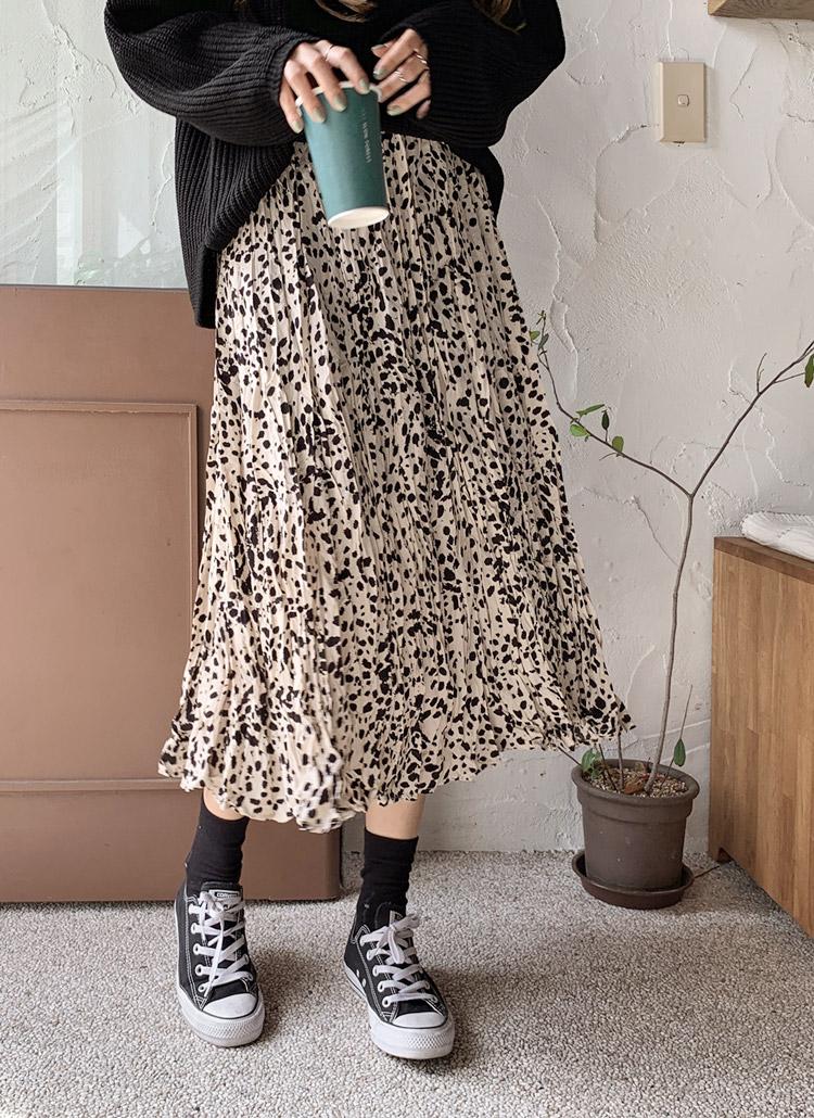 パターンリンクルロングスカート