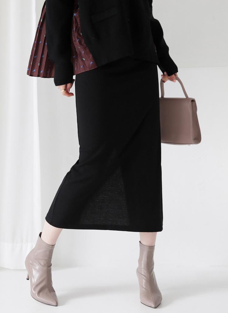 リブスリットスカート・全4色