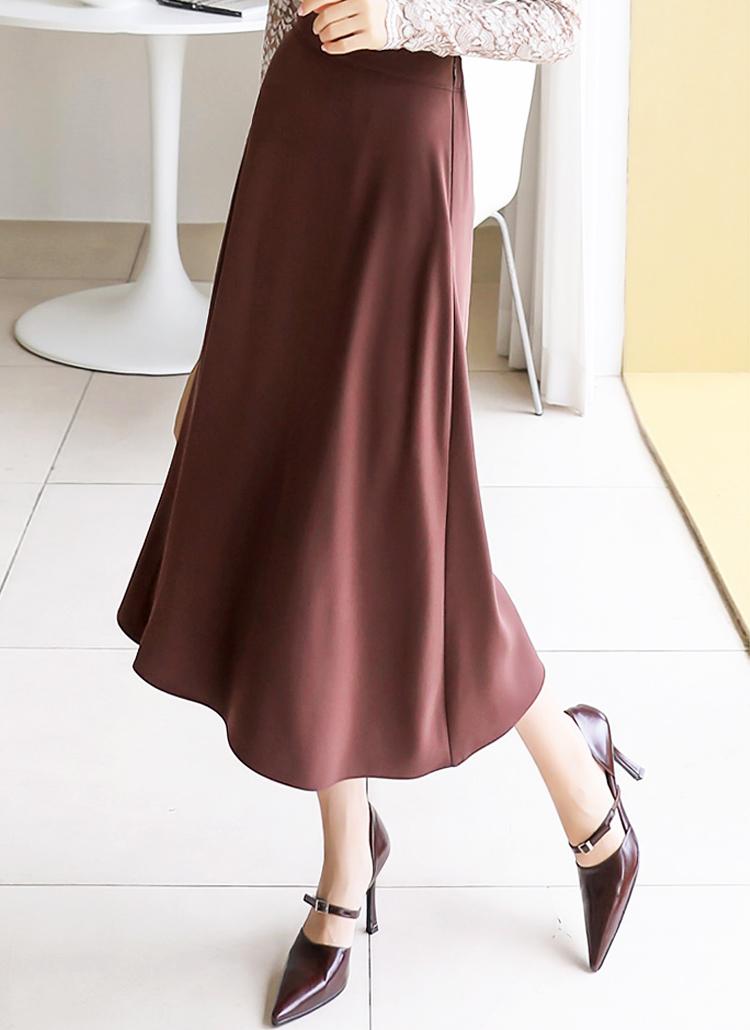 バックゴムロングフレアカラースカート