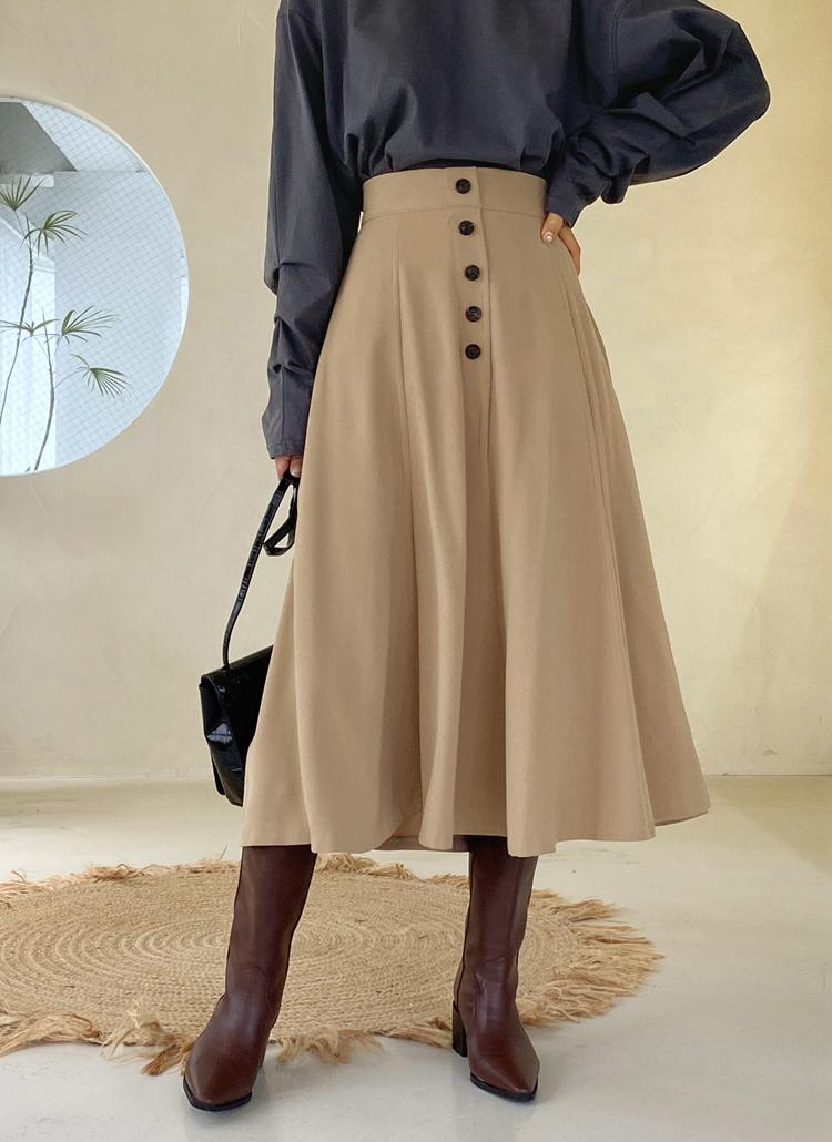 ボタンフレアスカート・全3色