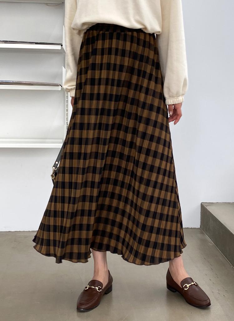 チェックフレアプリーツスカート・全3色