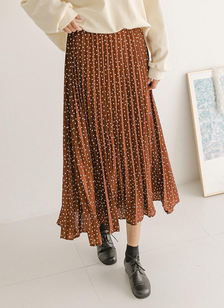 ウエストゴムプリーツドットスカート