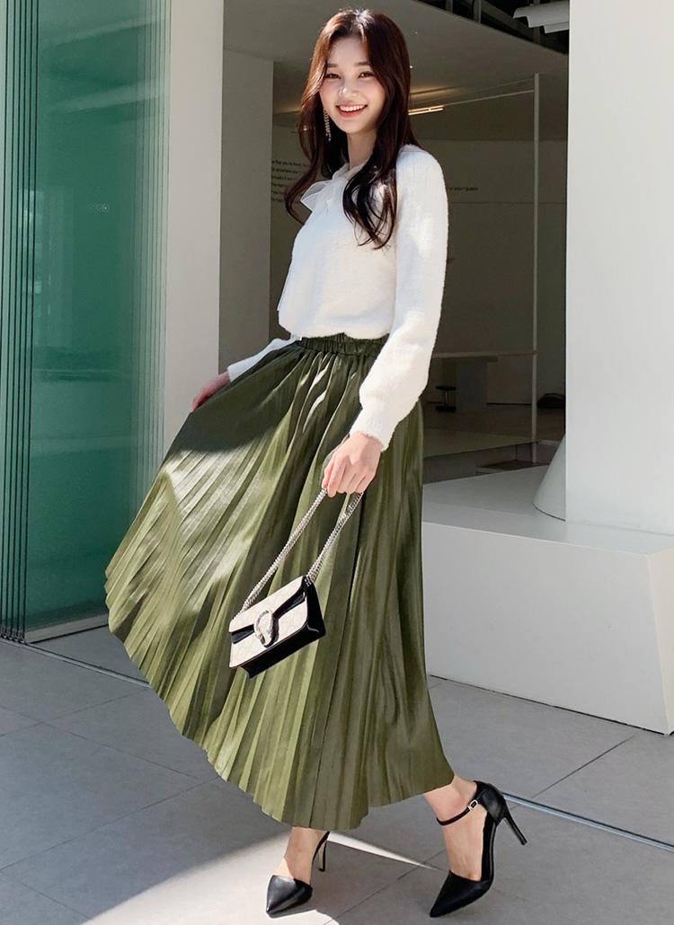 レザー調プリーツスカート・全5色
