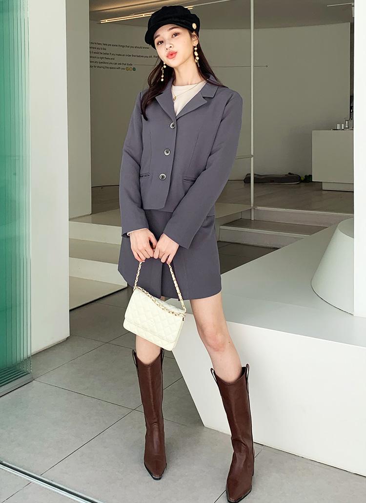 ショートジャケット&タックミニスカートSET・全2色