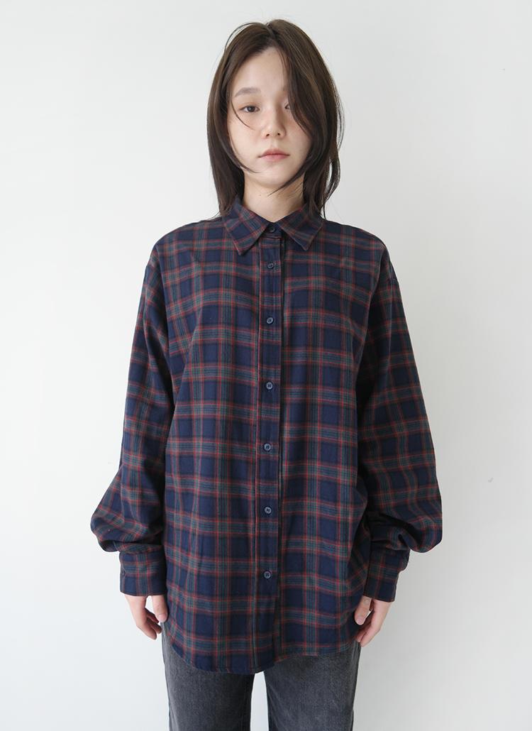 コットンチェックシャツ