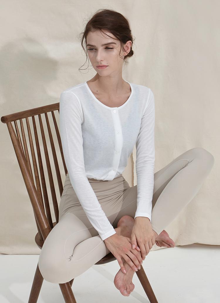 ストリングヘムボタンTシャツ(ホワイト)