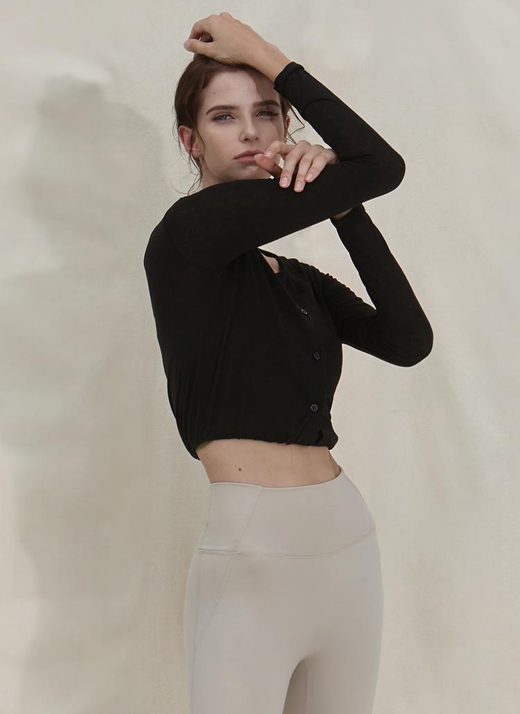 ストリングヘムボタンTシャツ(ブラック)