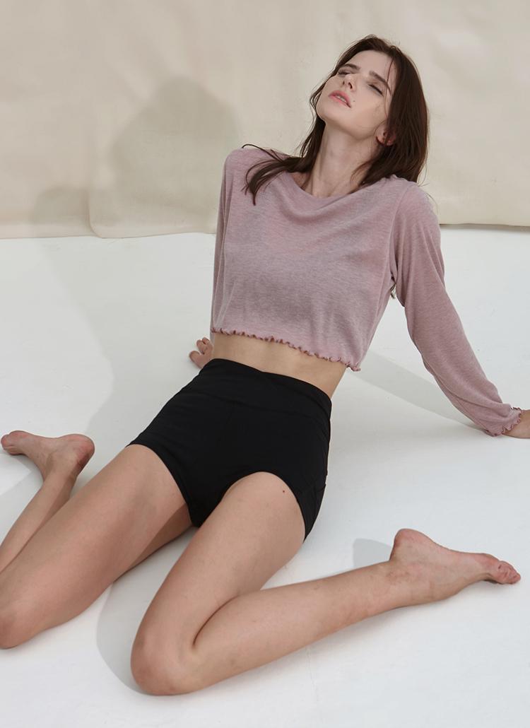 メロウヘムクロップドTシャツ(Ash pink)