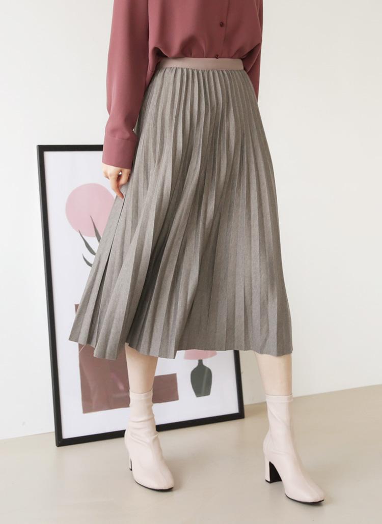 ウエストゴムプリーツスカート・全3色