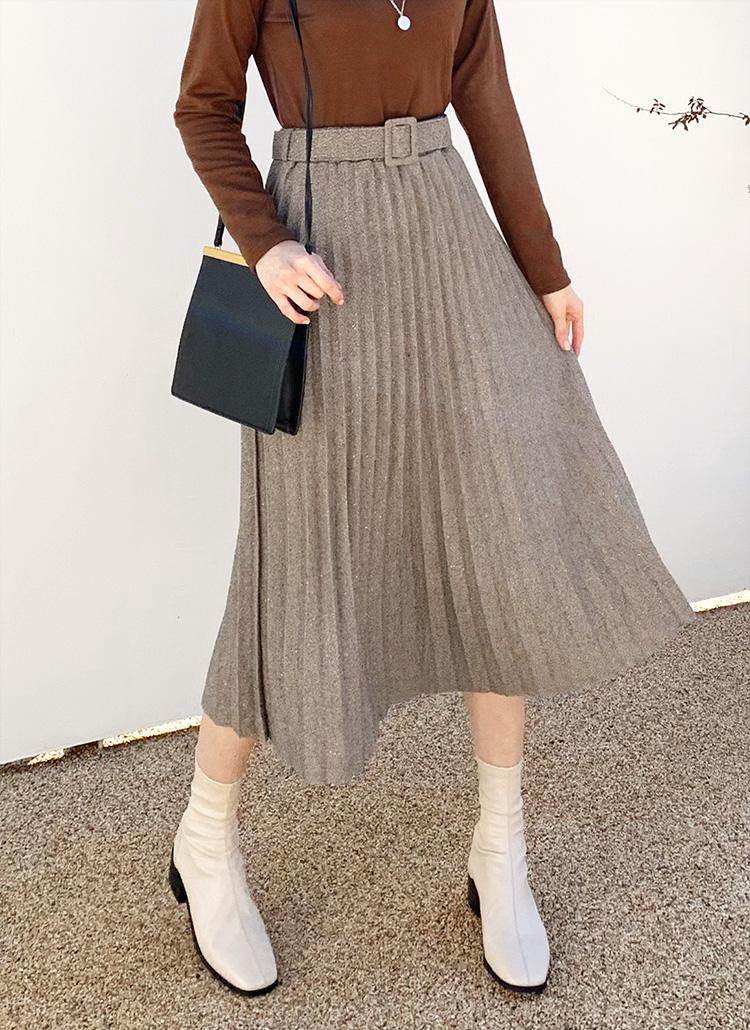 ベルト付グリッタープリーツスカート・全4色