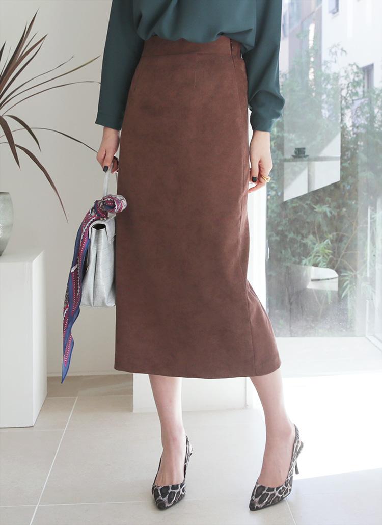スエード調Hラインスカート・全3色