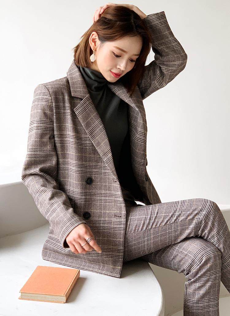 グレンチェックジャケット&スラックスSET・全2色