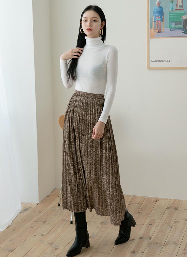 レオパードロングプリーツスカート